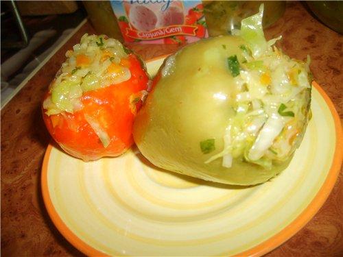 как замариновать фаршированный капустой болгарский перец